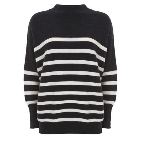 Stripe Funnel Neck Sweater, ${color}