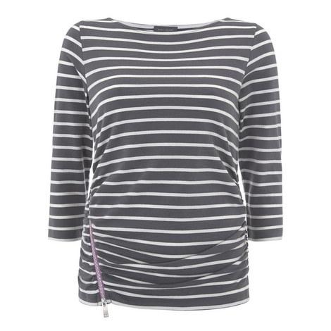 Contrast Zip Stripe Top, ${color}