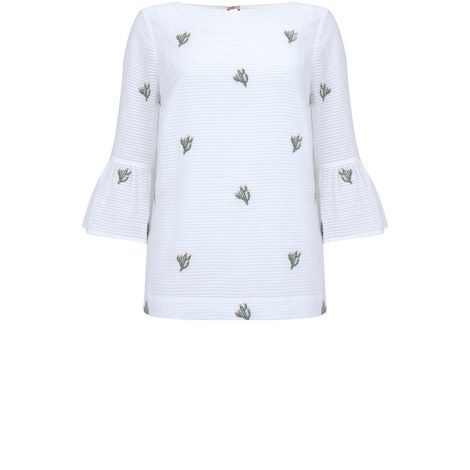 Ivory Cactus Embroidered Top, ${color}
