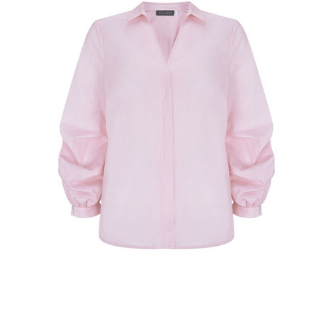 Pink Ruffle Sleeve Shirt, ${color}