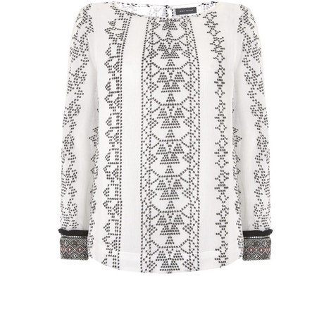 Embroidered Cuff Blouse, ${color}
