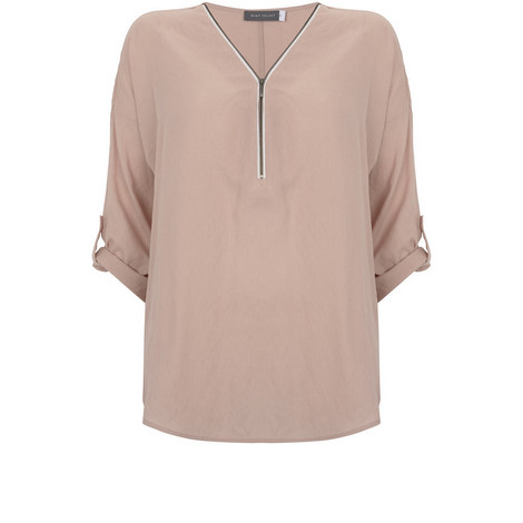 Blossom Zip Front Cocoon Tee, ${color}
