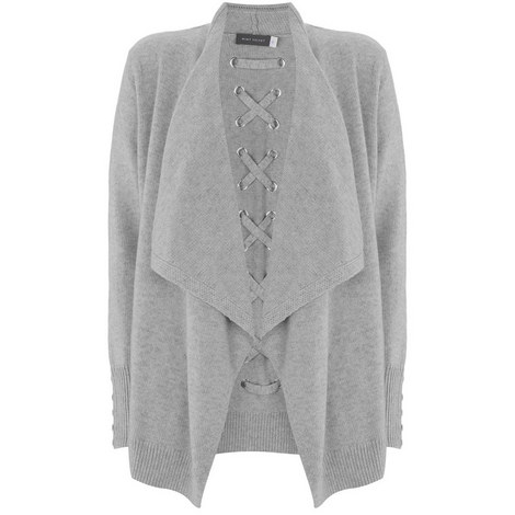 Grey Lace Back Short Cardigan, ${color}