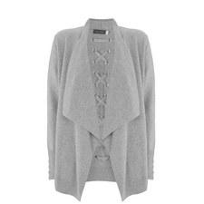 Grey Lace Back Short Cardigan