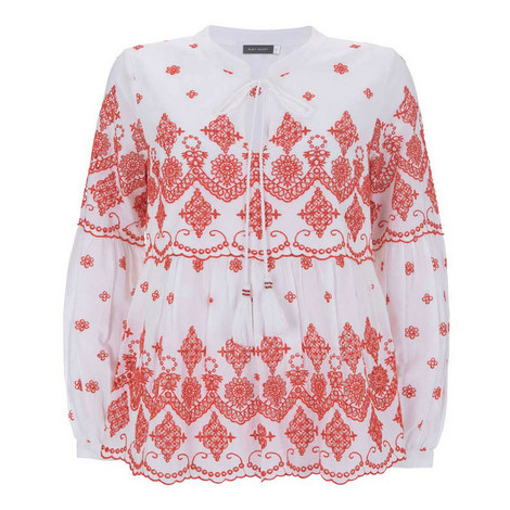 Contrast Embroidered Blouse, ${color}