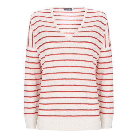 Stripe V-Neck Sweater, ${color}