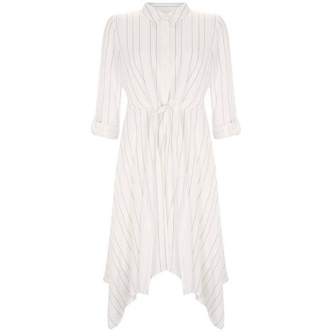 Stripe Tie Front Shirt Dress, ${color}