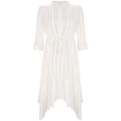 Stripe Tie Front Shirt Dress, ${color}