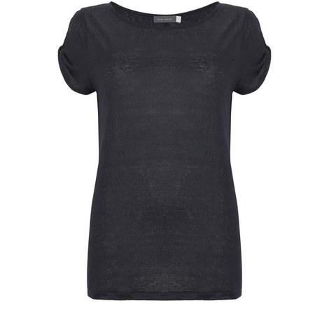 Navy Knot Sleeve Shimmer Tee, ${color}