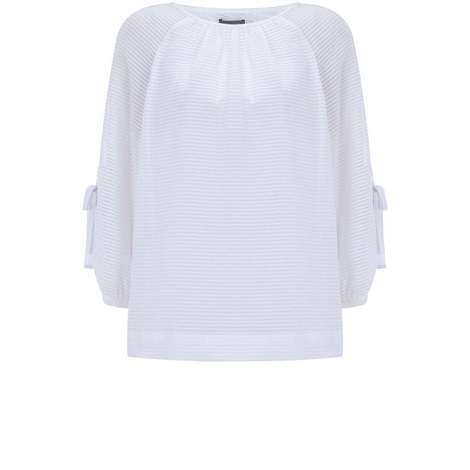 Ivory Eyelet Bow Sleeve Top, ${color}