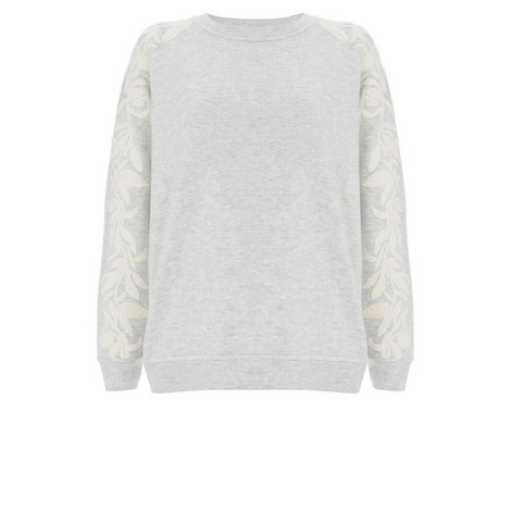 Grey Embroidered Sleeve Sweat, ${color}