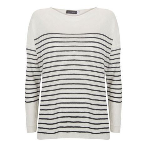 Stripe Linen Boxy Sweater, ${color}