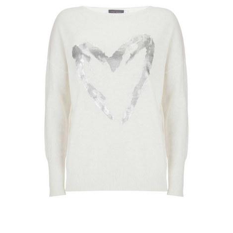 Ivory Foil Heart Boxy Knit, ${color}