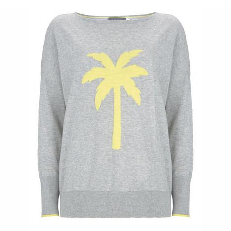 Grey Palm Tree Motif Knit, ${color}