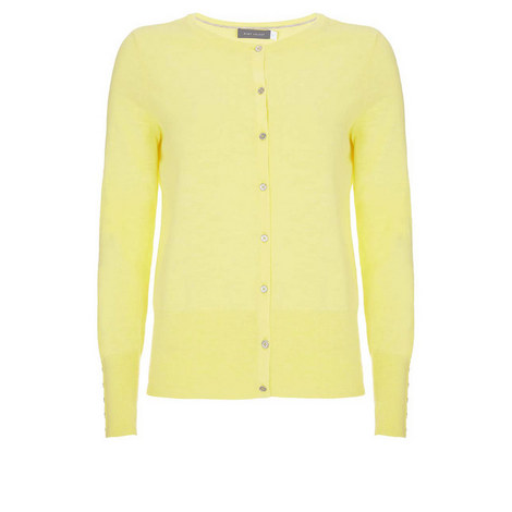 Lemon Cotton Cropped Cardigan, ${color}