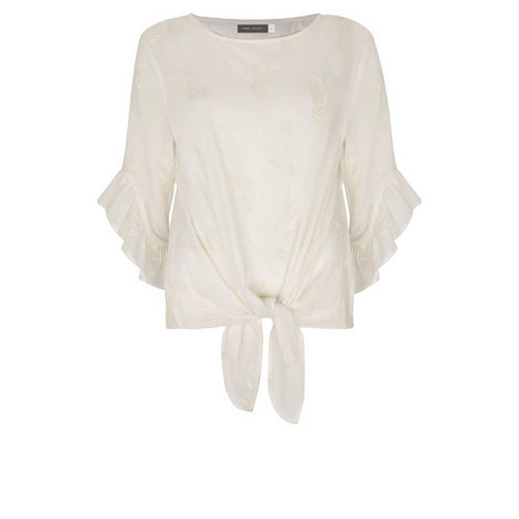 Ivory Embroidered Feather Top, ${color}