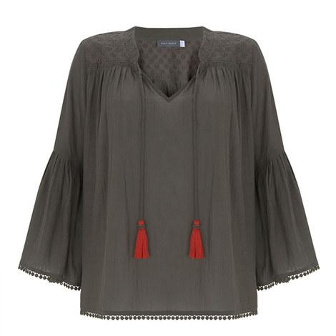 Khaki Contrast Tassel Top, ${color}