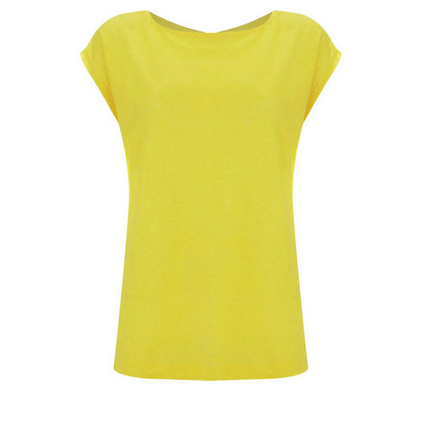 Lemon Cross Back Linen Tee, ${color}