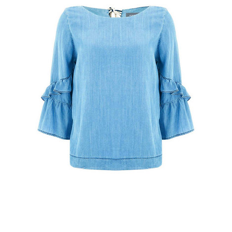 Chambray Fluted Sleeve Blouse, ${color}