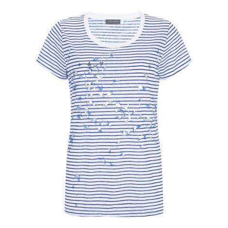 Striped Bird Print T-Shirt, ${color}