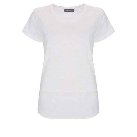Ivory Woven Hem Tee, ${color}