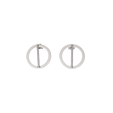 Silver Tone Circle Bar Earring, ${color}