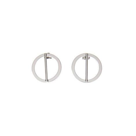 Silver Tone Circle Bar Earring, ${color}
