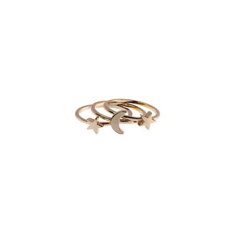 GOLD TONE MOON & STAR RINGS, ${color}