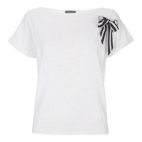Bow-Trimmed Cotton T-Shirt, ${color}