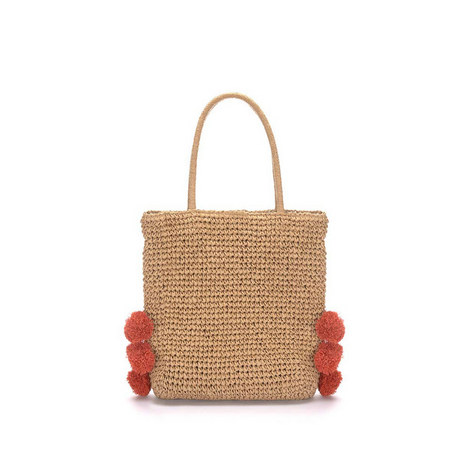 Sandy Pom Pom Straw Bag, ${color}