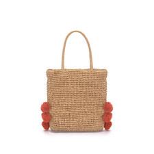 Sandy Pom Pom Straw Bag