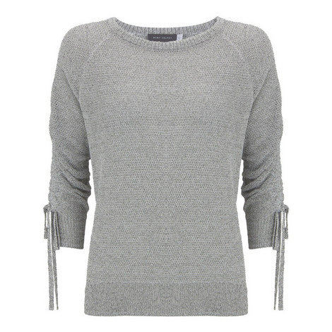 Metallic Ruched-Sleeve Sweater, ${color}
