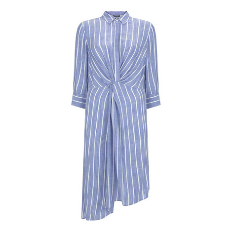 Striped Knotted Shirt Dress, ${color}