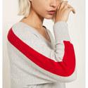 Contrast V-Neck Batwing Sweater, ${color}