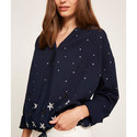 Star Print Embroidered Blouse, ${color}