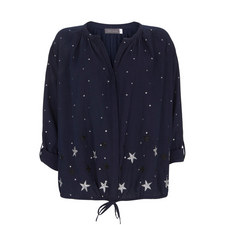 Star Print Embroidered Blouse