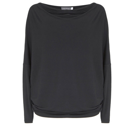 Draped Neck Modal Batwing Top, ${color}