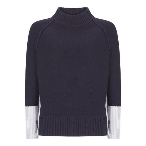 Colour-Block Button Sweater, ${color}
