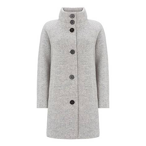Funnel Neck Textured Coat, ${color}