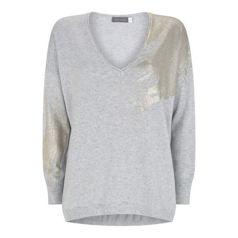 Foil Paintbrush V-Neck Sweater, ${color}
