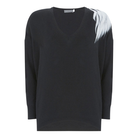 Feather V-Neck Knit, ${color}
