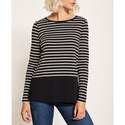 Striped Block-Hem T-Shirt, ${color}