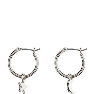 Star & Moon Silver Tone Hoops