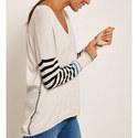 V-Neck Striped Knit, ${color}