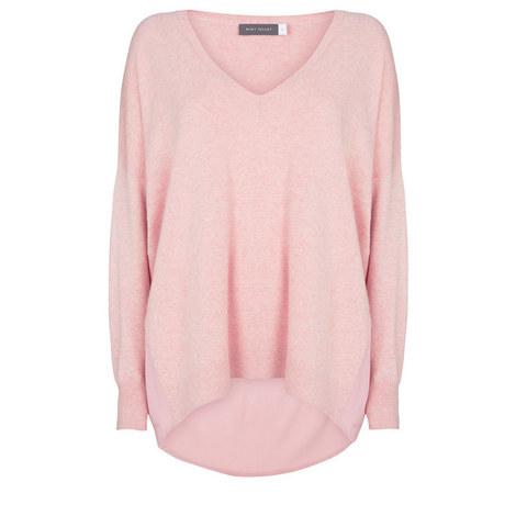 V-Neck Satin Back Sweater, ${color}