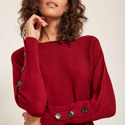 Buttoned Batwing Sweater, ${color}