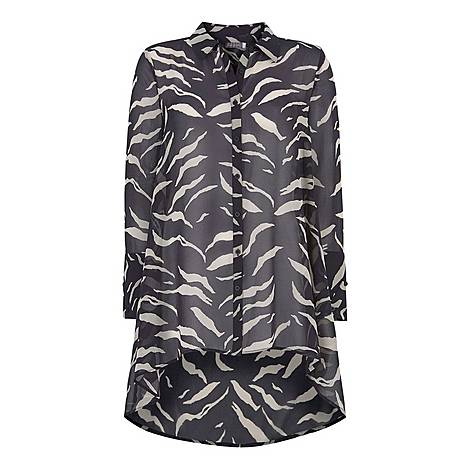 Nadine Print Dipped Hem Blouse, ${color}