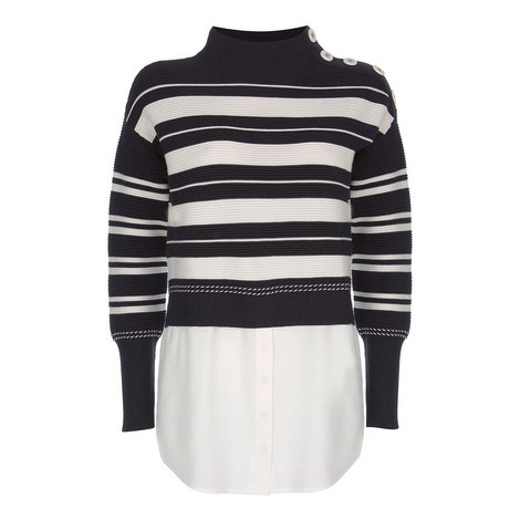 Striped Ottoman Layered Sweater, ${color}