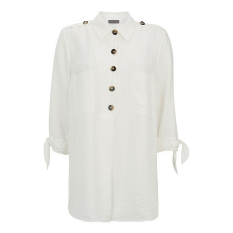 Button Tie Sleeve Tunic, ${color}
