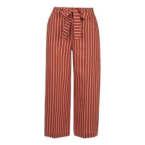 Striped Tie Waist Trouser, ${color}